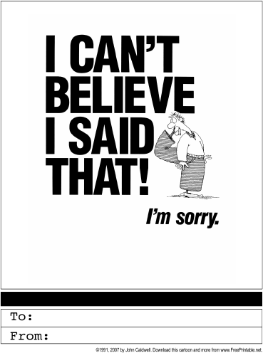 Declarative image with printable sorry card